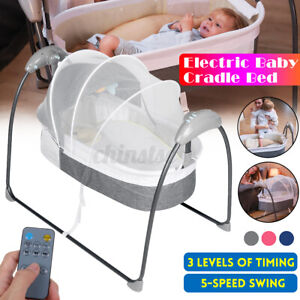 Electric Baby Crib Cradle Sleep Bed Bouncer 5-speed Swing Bed 3-Modes w/Remote