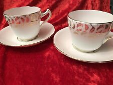 Pair Of Vintage Royal Grafton Fine Bone China Cups & Saucers Gold Fern Pale Pink