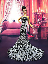 Black White Mermaid Evening Dress Outfit Gown Silkstone Barbie Fashion Royalty