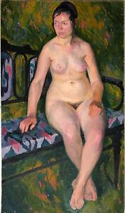Antique1975 Original Russian paintingUSSR oil on cardboard Anatoly Lutsenko nude