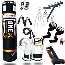 OneX 5ft Heavy Filled Boxing Punch Bag Set 15Pcs Home Gym Training Kit