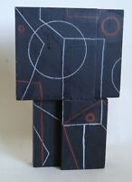 Retro sculpture abstract painted wood cubist influenced Bill Low