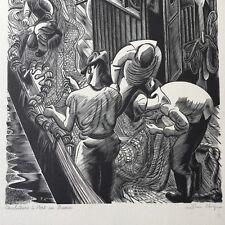 Jean CHIEZE (1898-1975) Gravure Sur Bois Signé Chalutiers Port En Bessin Marin