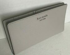 New Kate Spade New York Cameron Large Slim Bifold Leather wallet Soft Taupe