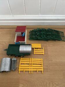 Play Toy Farm Set Diecast / Metal / Plastic - Fence, Sty, Trailer, Pigpen