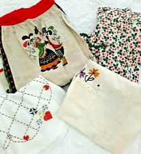 New listing Vintage Retro Mod kitchen lot of 4 half size Aprons embroidered linen cloth 50's