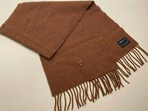 Polo Ralph Lauren Brown 100% Lambs Wool Fringed Men's Scarf