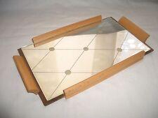Tablett Spiegeltablett Serviertablett klein eingeschliffenes Glas ? Puppen Zubeh