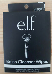 """E.L.F. Brush Cleanser Wipes 10 Individually Wrapped Wipes 3.75"""" x 3.75"""" FREE SHI"""