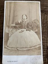 Victorian CDV Photo Woman In Big Dress, Book On Lap - Oldham