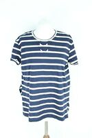 ZARA BNWT blue white short sleeve loose woman blouse size L