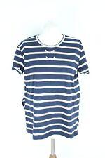 Zara Blue White Short Sleeve Loose Woman Blouse Size L