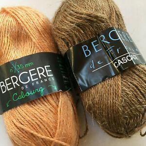 Knitting Yarn ~ BERGERE Cascade / Cabourg  50g balls Hemp blend yarn