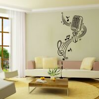 2X Music Notes Microphone Wall Sticker Funny Home Decor Vinyl Decal Black CY2