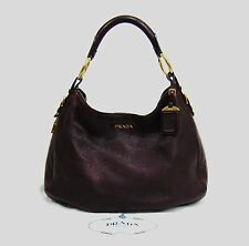 Prada Cervo Antik Burgundy Deerskin Leather Hobo Shoulder Bag