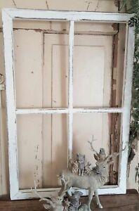 Bilderrahmen Fenster Holz Natur Weiß Shabby Vintage Landhaus Deko