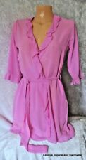 SAINSBURY'S SHORT PINK CHIFFON DRESSING GOWN ROBE SEXY NIGHTWEAR SECONDS BNWOT