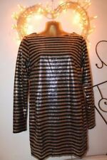 Long Sleeve Striped Dresses for Women with Sequins