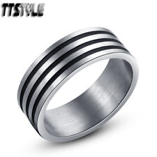 TTstyle 8mm Brushed Stainless Steel Multi-Stripe Band Ring Closing Sale