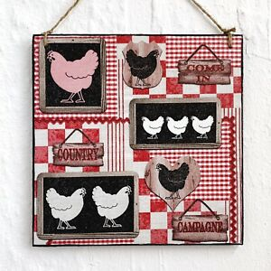 Hanging sign/picture Chicken Farm Farmhouse Backyard Gingham red black
