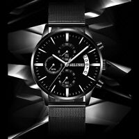 BELUSHI Men's Stainless Steel Luminous Analog Quartz Mesh Wrist Watch Waterproof