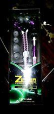 Zipper Earphone No Tangle Hands Free MIC Glows in the Dark Purple new
