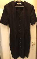 Cue Design 12 Ladies black dress, Made in Australia, polyester viscose short slv