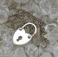 Silberkette Halskette Kette aus 835er Silber mit Vorhängeschloss Länge 41,5 cm