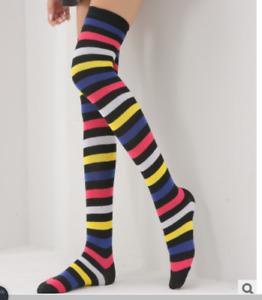 a Pair Rainbow Stripe Long Cotton Socks Over Knee Legs Socks Female girl