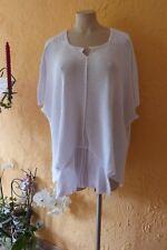 AMANDINE Zipfel Pullover 50 52 54 56 NEU weiß viele Details Stretch LAGENLOOK