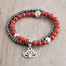 2pcs Red Root Chakra Balance Yoga Bracelet Elastic Set, Lotus Hamsa Charms