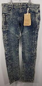 Men's Skinny Fit Acid Wash Moto Jeans from F.U.S.A.I. 34