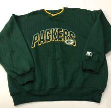 Vtg 90s Starter Green Bay Packers Crewneck V-neck Sweatshirt sz Embroidered GUC