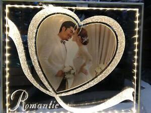 LED USB Warm Light Crushed Diamante Filled Wedding Picture Photo Frame Gift UK
