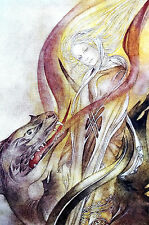 Sulamith Wulfing BEAUTY and the BEAST - DRAGON - 1978 Vintage Art Print Matted