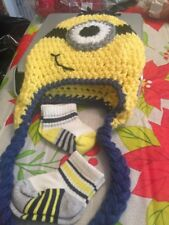 Crochet Knit Minion Baby/Toddler Hat With 2 Pr Of Socks Hand Made Free Shipping
