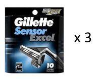 Gillette Sensor Excel Razor Refill Cartridges 10 ct (3 Pack)