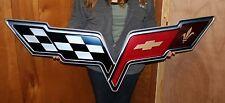 """2005-2013 Corvette C6 Flag Wall Emblem Metal Sign Art 50"""" X 20"""""""