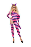 Sexy Starline Striped Trippy Kitty Cheshire Cat Catsuit 5pc Costume S5161