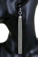 Women Silver Metal Chain Long Fringes Fashion Earrings Set Casual Look Party