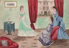 VICTORIAN FASHION CRINOLINE DRAWING ROOM Watercolour Painting J M TODD c1860