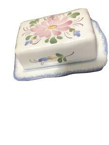 Fait Main France Butter Dish Extra wide 2 sticks cream cheese block Pink Flower