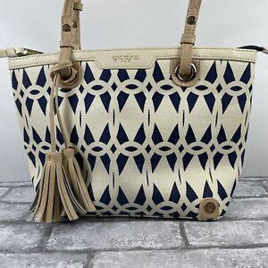 Spartina 449 Bag Daufuskie Island Linen Leather Linen Blue Bag Purse Tote