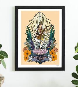 Indian Goddess Saraswati Hindu Hindu India Yoga Colour Art Poster Print By Msdre