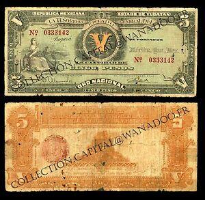 Mexico 5 Pesos 1916 Estado De Yucatan, M-4135, Decree 559