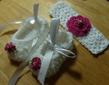 Handmade Crochet Baby Girl Booties, Head Band Set White & Rose  Newborn 3 Months