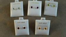 14K yellow gold stud earrings 1 ea Aquamarine, Amethyst, Topaz, Peridot,  Garnet