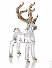 Deer Clear Anther Gold Hand Blown Blowing Glass Art Animal Fancy Collectibles