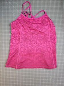 Womens Purple Athleta Polyester Blend Workout Tank Top Size L