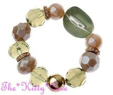 Chunky Green Brown Nuggets Pebbles Stretch Bracelet W/ Swarovski Crystal Bling